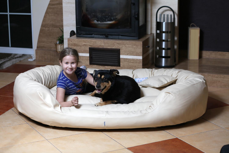 hundebett philip xxxl 170 cm kunstleder creme tierlando. Black Bedroom Furniture Sets. Home Design Ideas