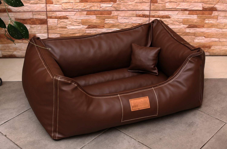 hundebett maddox s 70 cm kunstleder braun tierlando. Black Bedroom Furniture Sets. Home Design Ideas
