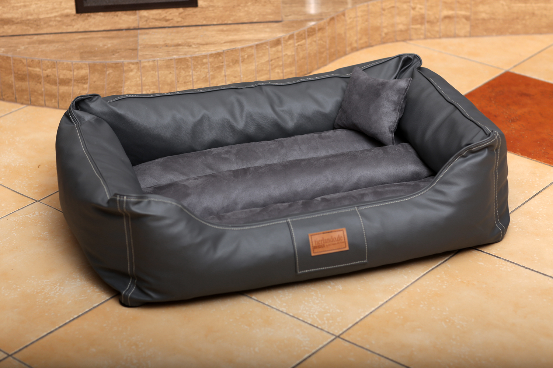 hundebett maddox l 100 cm kunstleder velours graphit. Black Bedroom Furniture Sets. Home Design Ideas