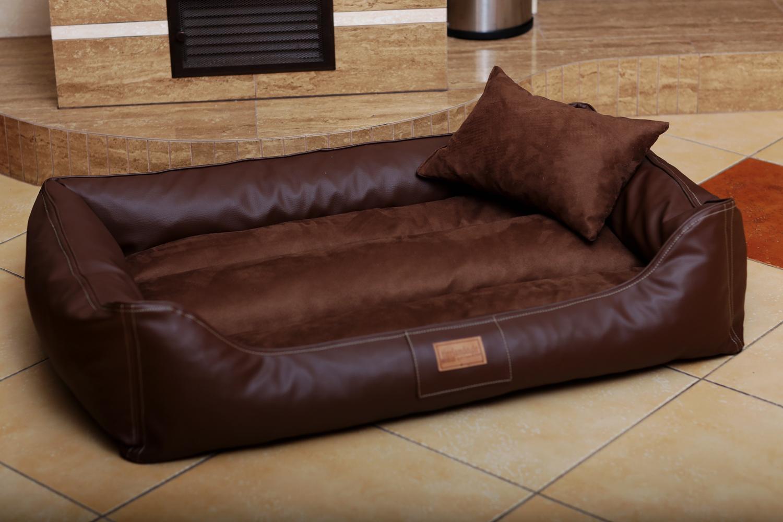 hundebett maddox l 100 cm kunstleder velours braun. Black Bedroom Furniture Sets. Home Design Ideas